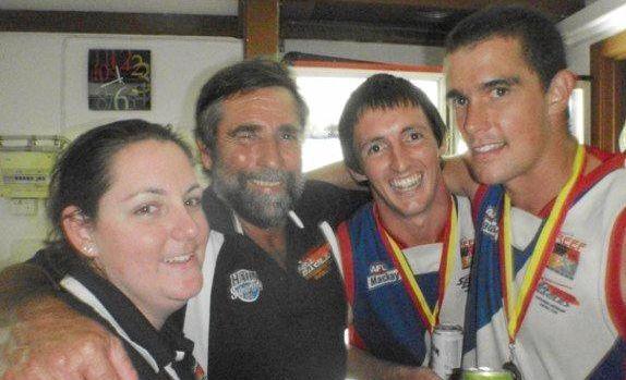 BIG WIN: Dale Lambert with daughter Corrine Lambert and son Dylan Lambert after a Sea Eagles  win.