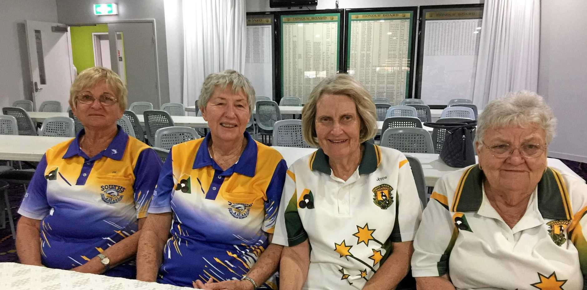 TOP MATCH: 2018 Master Pairs finalists Di Faulkner, Dal MacKelvie, Joyce Camilleri and Thelma Searle. After a marathon four and a half hours, MacKelvie and Faulkner outlasted Camilleri and Searle 19-14.