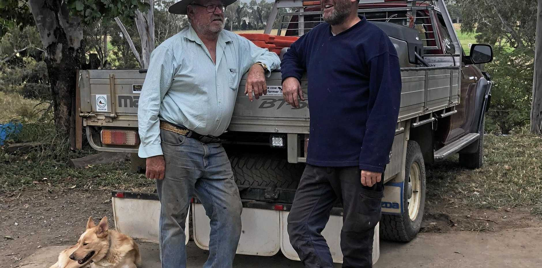 FARM HELPERS: Dennis Hiscock and Dave Paish spent two weeks helping farmers in Victoria after recent bush fires.