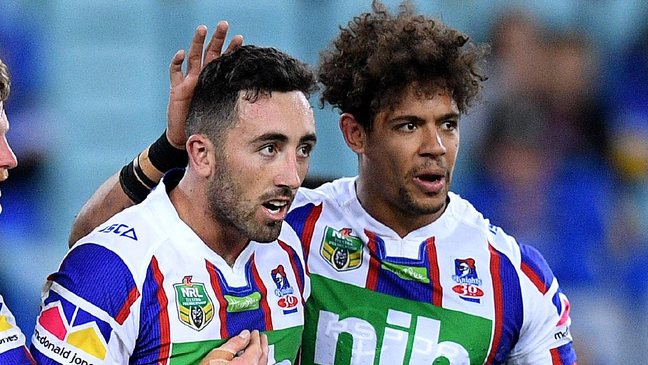 Brock Lamb and Dane Gagai share a moment while playing for the Knights last season.