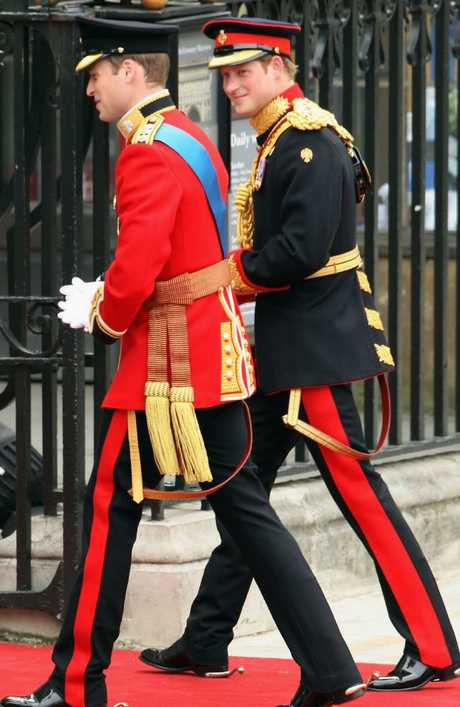 The brothers in full military uniform for William's wedding. (Photo by Dan Kitwood/Getty Images)