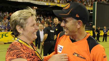 WACA chief executive Christina Matthews and coach Justin Langer.