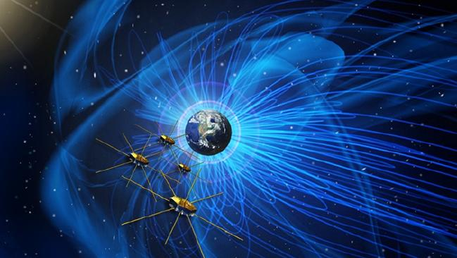 An artist's rendition of four identical spacecraft flying near the boundary of Earth's magnetic field.