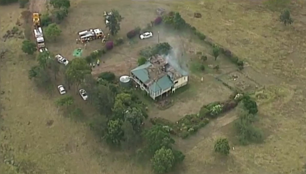 Firefighters were called to a house engulfed by flames on Klibbe Rd, Lowood around 3pm.