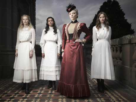 Samara Weaving, Madeleine Madden, Natalie Dormer and Lily Sullivan in a scene from Picnic at Hanging Rock.
