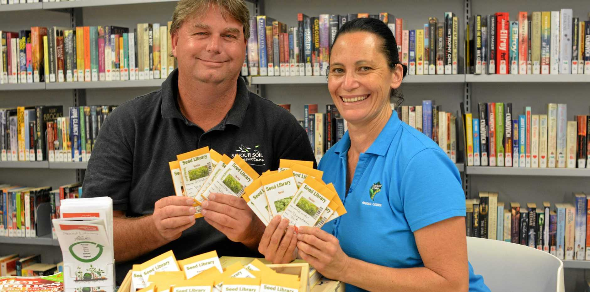 GROWING CONCEPT:  Michael Wardle and Lockyer Library assistant Shelly Walker.