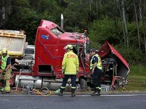 Wet road a factor in double truck crash in Orara Valley