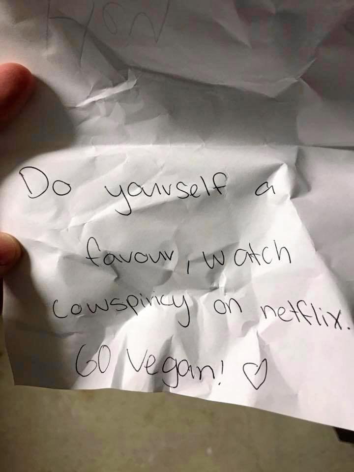 Vegan letter victim Hannah Dobbin is outraged