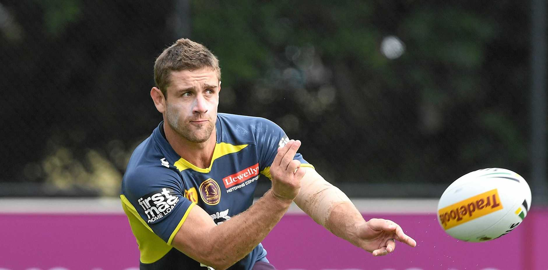 Andrew McCullough trains with the Brisbane Broncos at Red Hill on Wednesday.