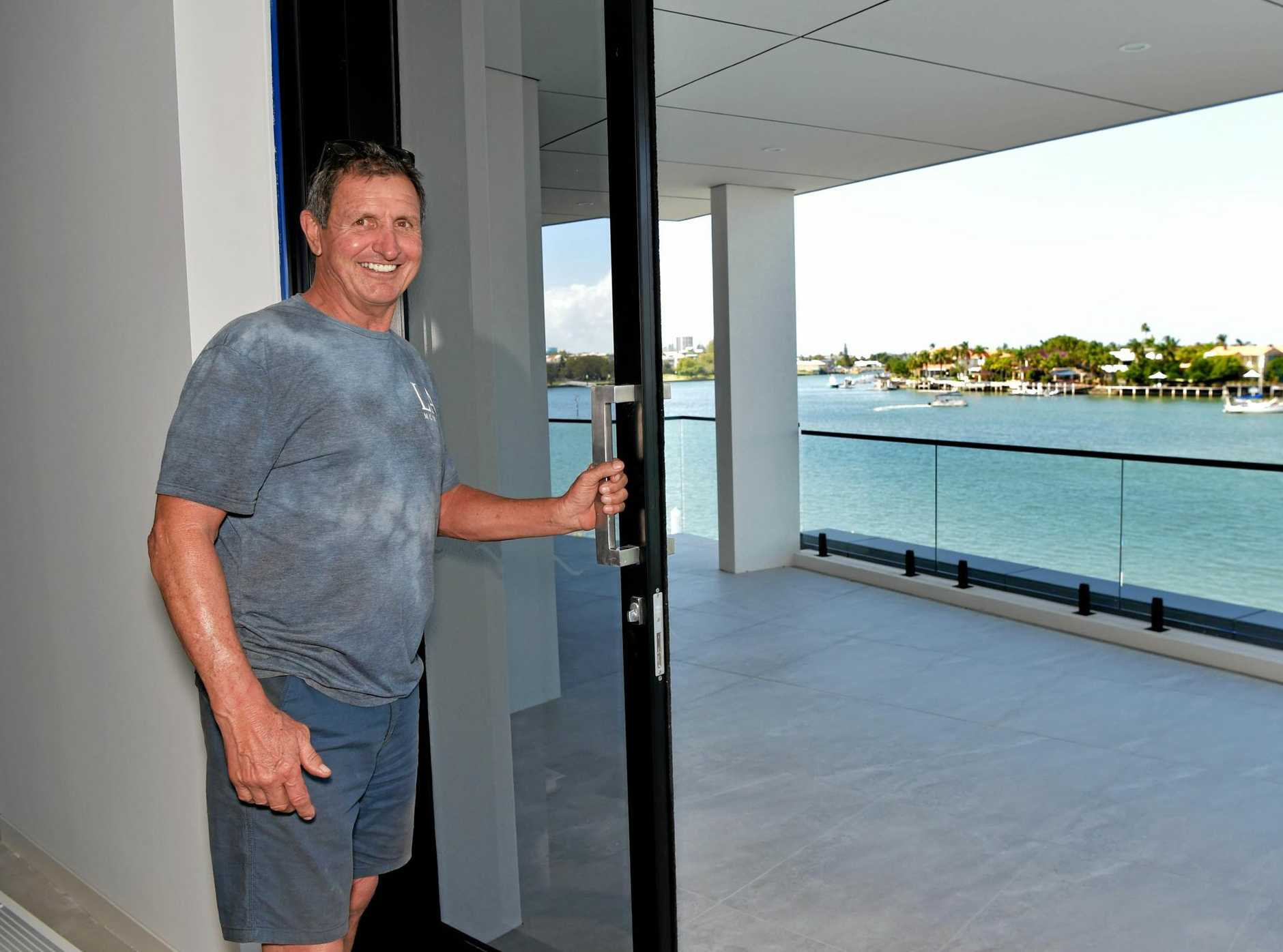 Laz Dzufer inspects progress on the Tangalooma Residences development.