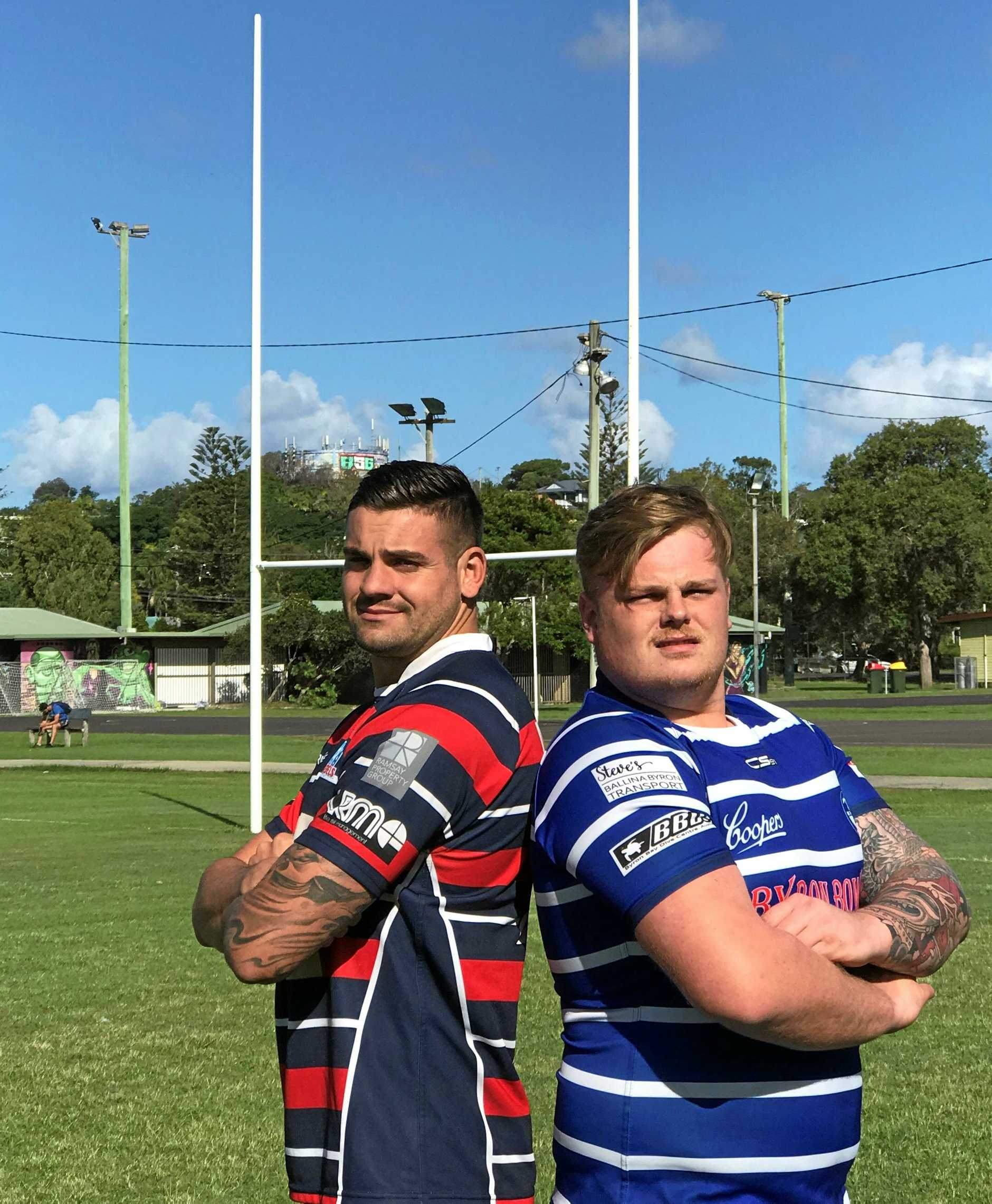 LOCAL DERBY: Bangalow's Darcy Hilton and Byron Bay's Charles Woolard get ready for this weekend's face off.