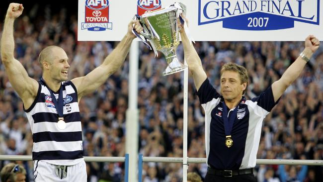 Geelong captain Tom Harley and coach Mark Thompson after winning the 2007 flag.