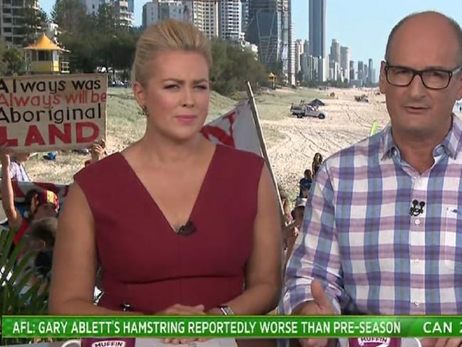 Armytage and co-host David Koch were forced to address the controversy after protesters hijacked the Sunrise broadcast live from the Commonwealth Games at the Gold Coast.