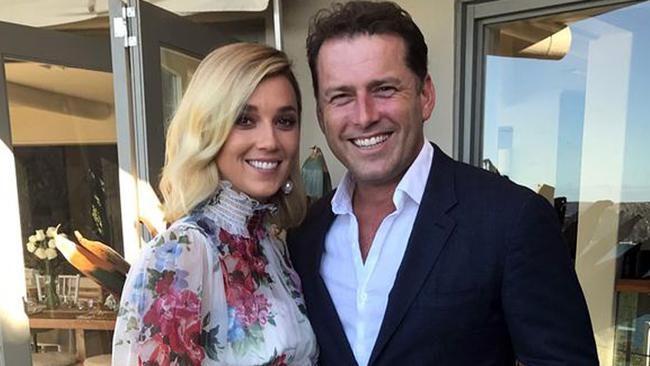 Jasmine Yarbrough and Karl Stefanovic at their mid-March commitment ceremony. Picture: Supplied