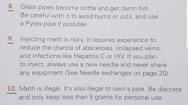 The guide advises users of meth to be discreet and only keep 5 grams for personal use. Picture: Supplied