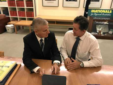 BYPASS BRIEFING: Deputy Prime Minister and Infrastructure Minister Michael McCormack being briefed on the Coffs Harbour bypass by Cowper MP Luke Hartsuyker.