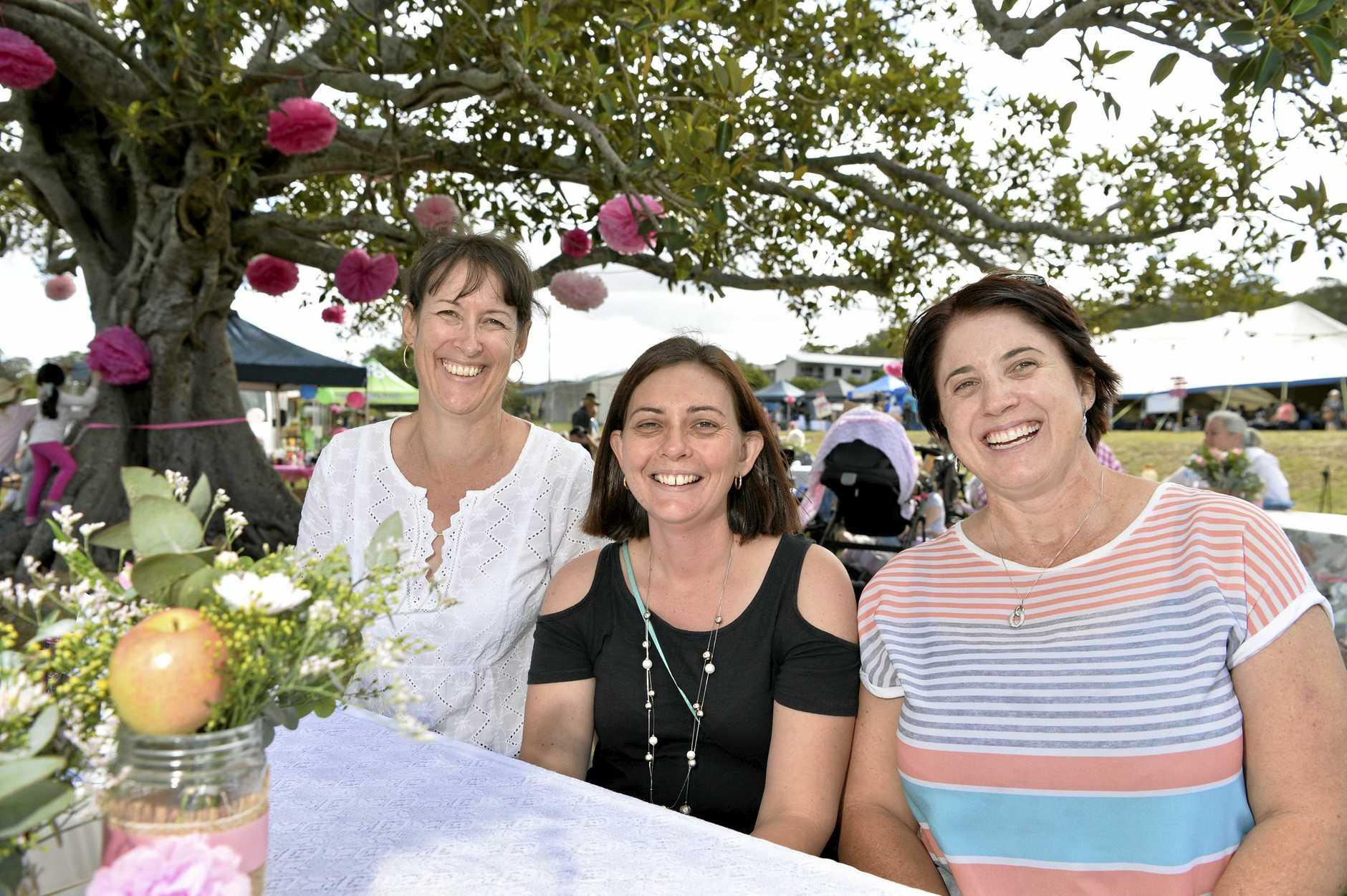 Having a great time are (from left) Bronwyn Logan, Leesa Van Zandbergen and Prue Fellowes.