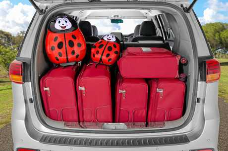 The loaded boot of a Kia Carnival Platinum.