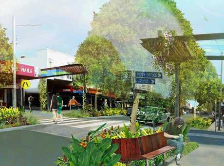 Artist's impressions show plans for an upper section of streetscape works in Bulcock St, Caloundra.
