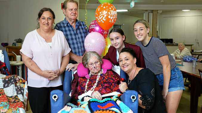 BIG DAY: Veronica Stenico celebrates her 100th birthday with (from left) granddaughter Debbie Wilkinson, son Wayne Vogler, great-granddaughter Jamie-Lee Floyd, granddaughter Kerry-Anne Floyd and great-granddaughter Jessica Wilkinson.