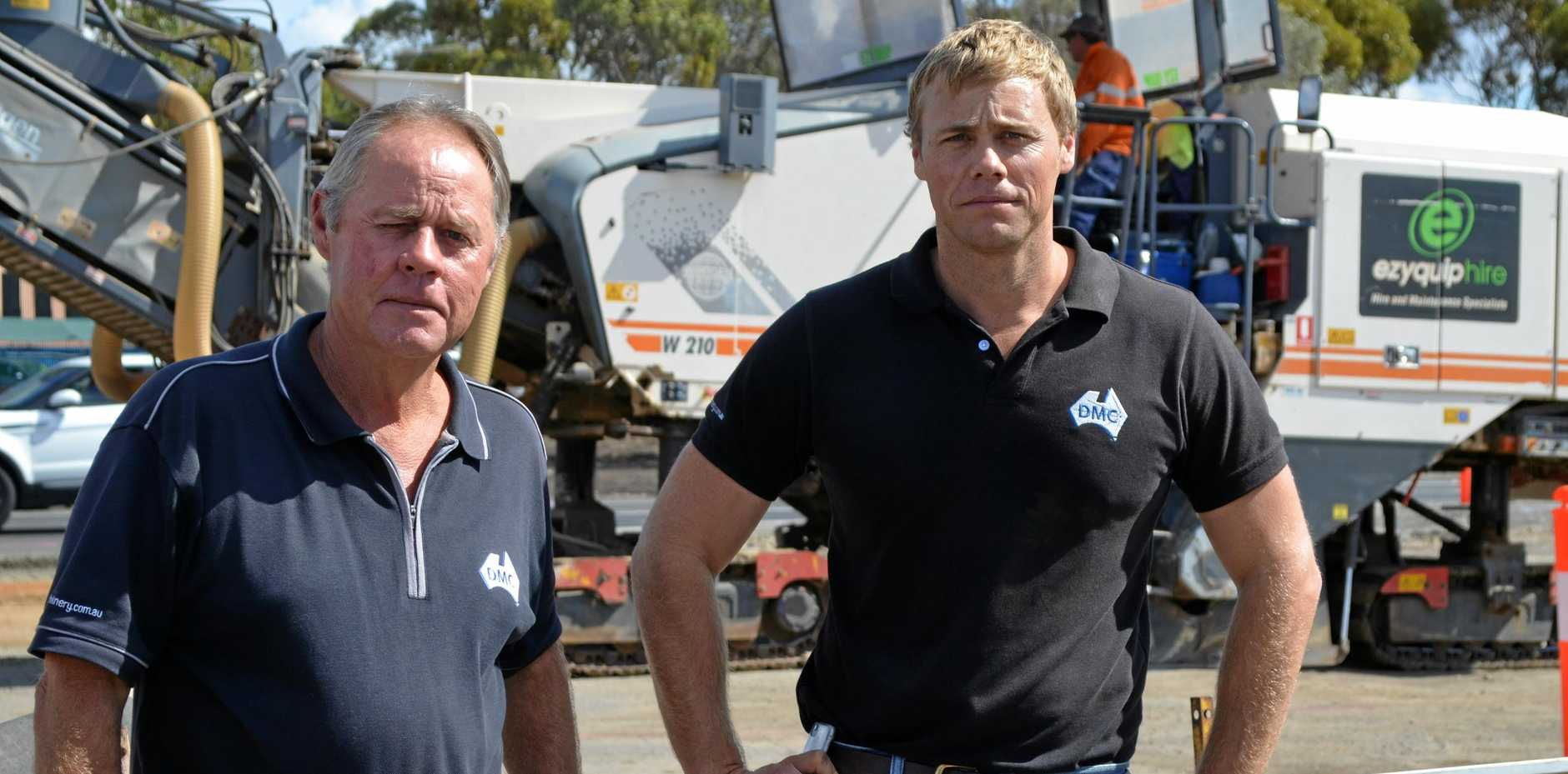 NOT HAPPY: Doug and Chris Machin are displeased with work being conducted by the Department of Transport and Main Roads.