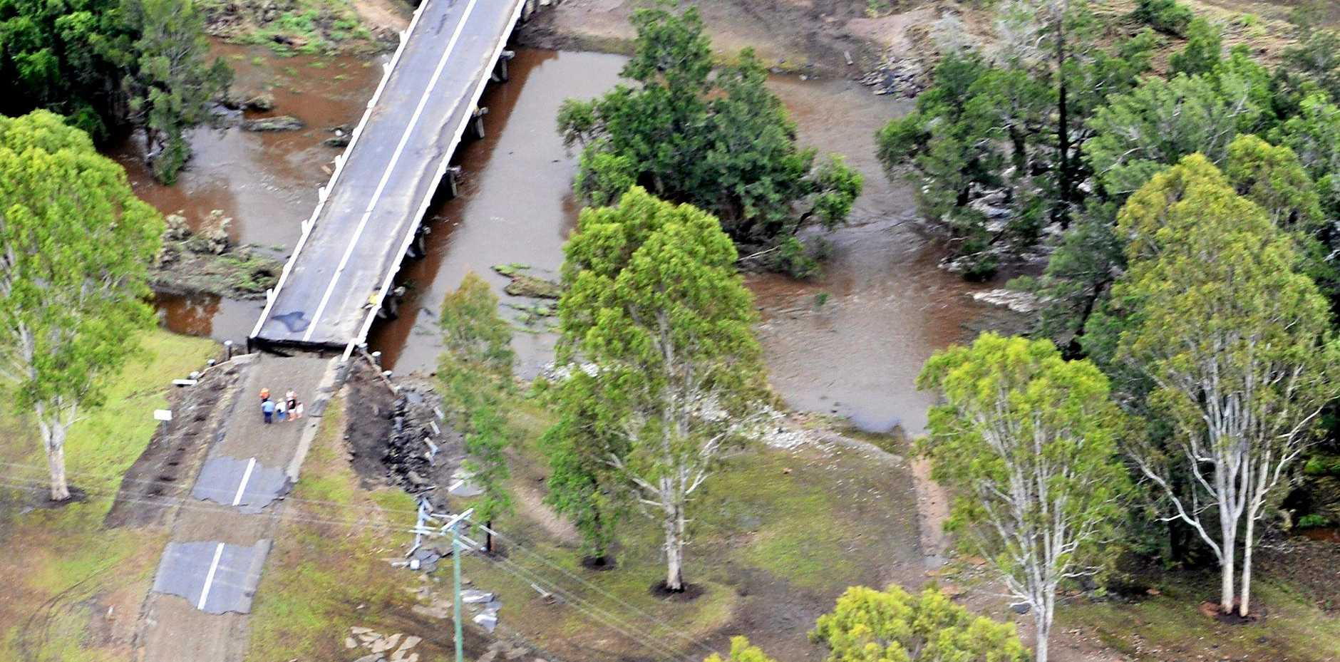 2013 aerial footage of the flood damage to the Widgee Road.