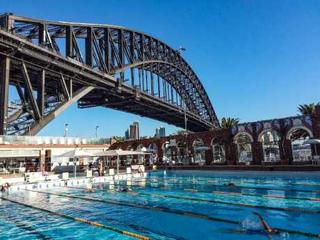 Swimmers enjoy the last of Sydney's warm weather at North Sydney Olympic Pool.
