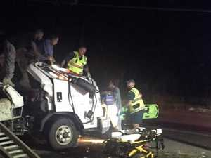 Truck crashes with passing vehicles then flipped