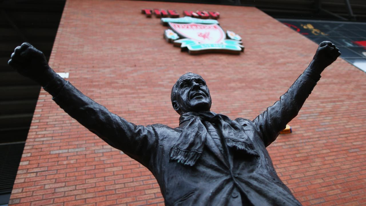 The statue of Bill Shankly outside of Anfield.