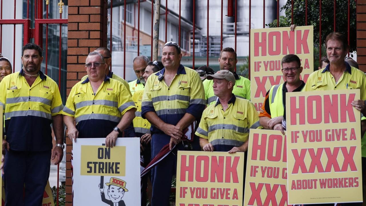 XXXX brewery workers have walked off the job four times and will take industrial action again tonight. Picture: Glenn Hunt