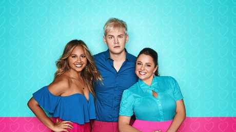 SBS Eurovision hosts Joel Creasey and Myf Warhurst pictured with Australia's 2018 representative Jessica Mauboy. Picture: Supplied.