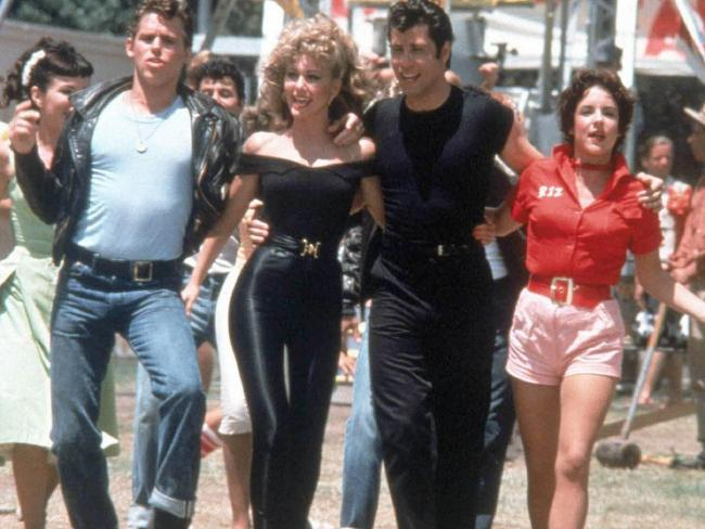 Left to right: actors Jeff Conaway, Olivia Newton-John, John Travolta and Stockard Channing from the film, Grease. Picture: Supplied
