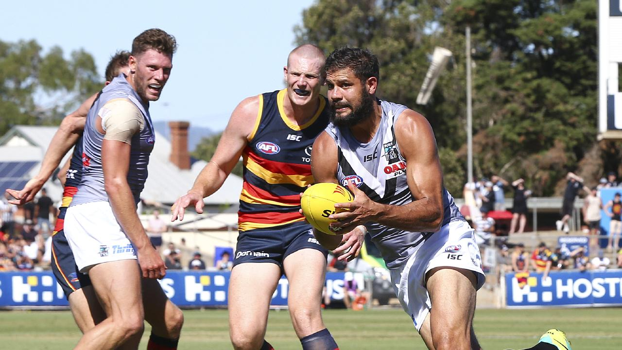 Paddy Ryder takes off against Port Adelaide in a pre-season game. Picture: Sarah Reed