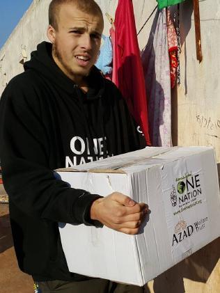Queenslander Oliver Bridgeman conducting aid work in Syria Picture: Oliver Bridgeman/Facebook