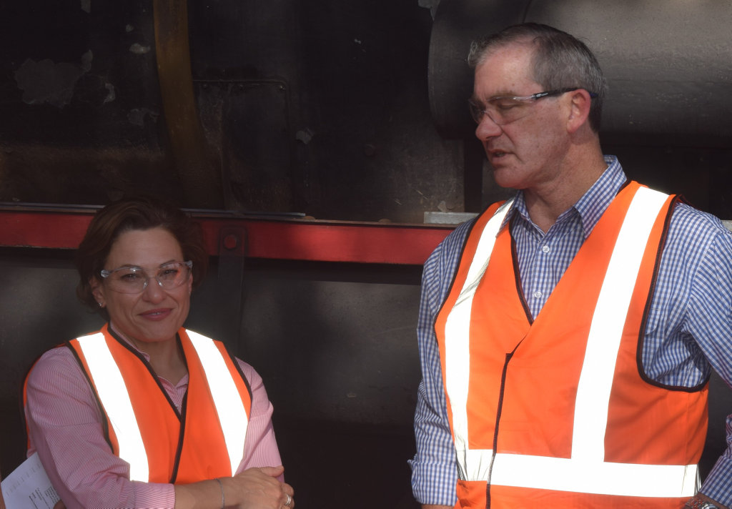 Mayor Mick Curran (pictured with MP Jackie Trad), has hit back at Gympie MP Tony Perrett's criticism of the Rattler's blowouts.