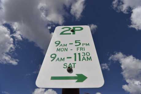 A 2P parking sign for parking for a maximum of two hours is seen in a Margaret St parking area of the Toowoomba CBD, Friday, May 4, 2018.