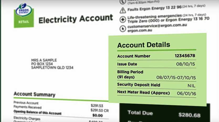 Generic image of an Ergon Energy bill.