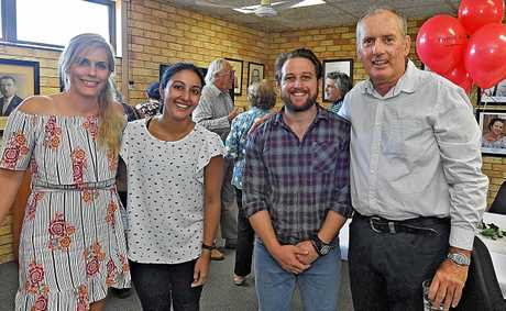 Gympie Times digital producer Frances Klein, sports editor Rebecca Singh, reporter Tom Daunt and former editor Michael Roser.