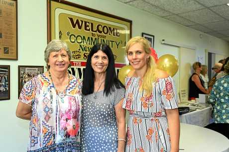 Former Gympie Times employee Lyn Fleming with designer Rowena Robertson and digital producer Frances Klein.