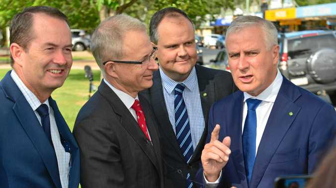 Member for Fisher Andrew Wallace, Minister for Urban Infrastructure Paul Fletcher,  Member for Fairfax Ted O'Brien and Deputy Prime Minister Michael McCormack  at Landsborough to announce $390 million for the rail line from Sunshine Coast to Brisbane.