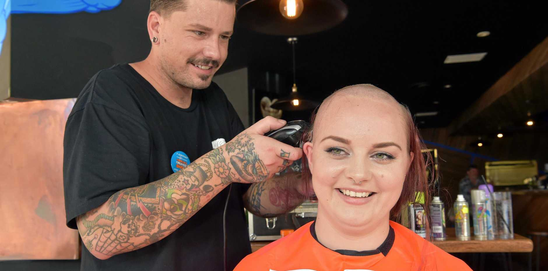 Robyn Farbeck braved the clippers at Sneaky Baron's Shave for a Cure event in Maroochydore.