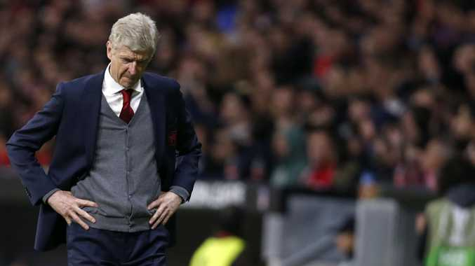 Arsenal manager Arsene Wenger reacts during the Europa League semi-final defeat to Atletico Madrid.