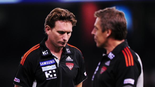 James Hird and Mark Thompson in their coaching days at Essendon.