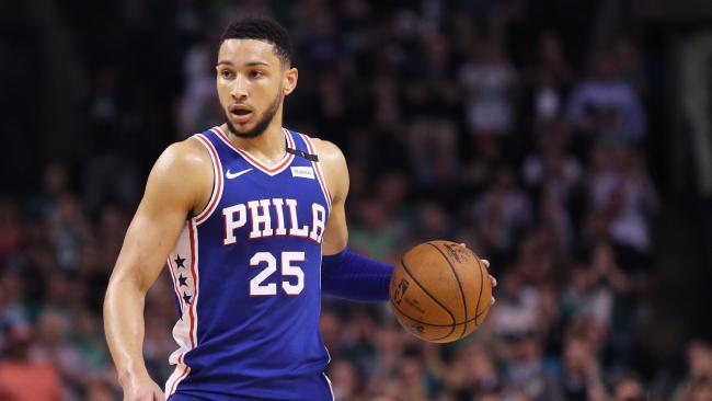 Ben Simmons has had an off night in game two of the Philadelphia 76ers' NBA playoff series against the Boston Celtics. Picture: Maddie Meyer/Getty Images