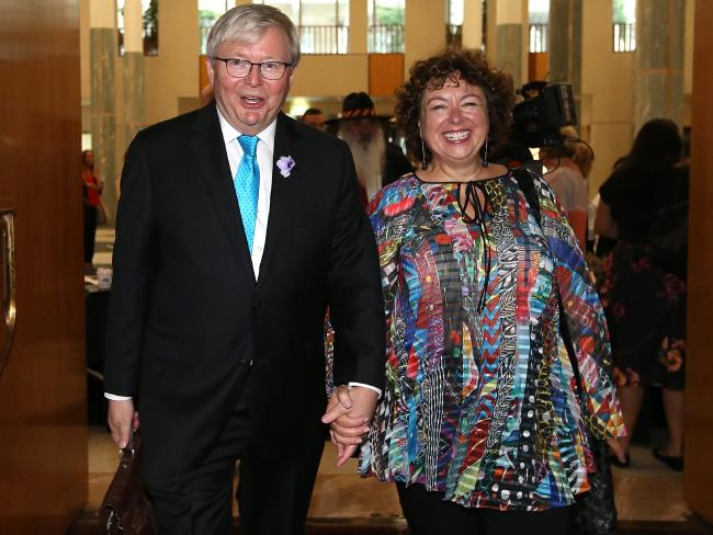 "Kevin Rudd, with wife Therese Rein, was ""furious"" over the ABC's reporting bungle. Picture: Kym Smith"