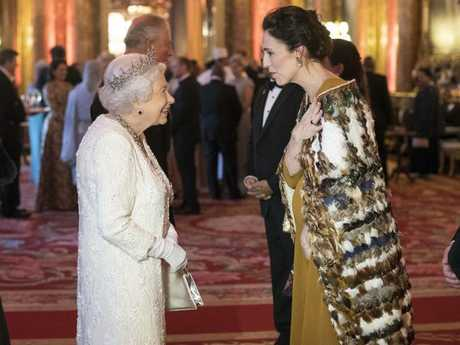Britain's Queen Elizabeth II, centre, greets New Zealand Prime Minister Jacinda Ardern during the Commonwealth Heads of Government Meeting, in London, Thursday April 19, 2018. Picture: Victoria Jones/Pool Photo via AP.