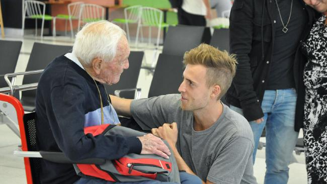 Australian scientist David Goodall says goodbye to his grandson at Perth Airport. Picture: AAP Image/Sophie Moore