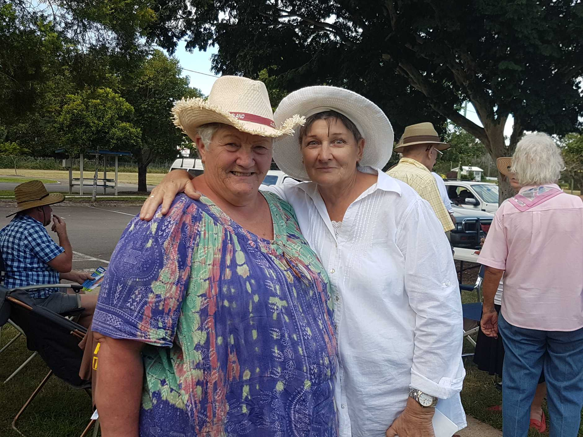 Sandra Burry and Helen Teitzel, volunteers for David Dalgleish, outside the Burrum District Community Centre on polling day after the crowds thinned out.