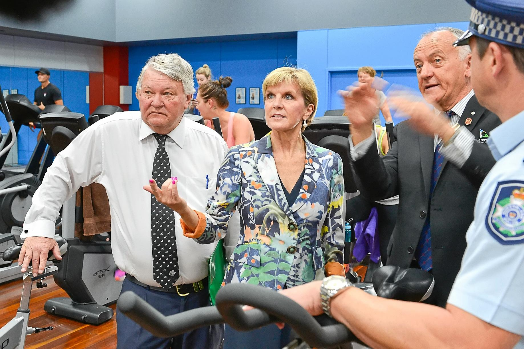 Member for Flynn Ken O'Dowd with the deputy leader of the Liberal Party minister Julie Bishop in the Gladstone PCYC Gym with chairman Glenn Churchill.  Photo Mike Richards / The Observer