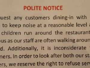 Diners horrified by 'polite notice'